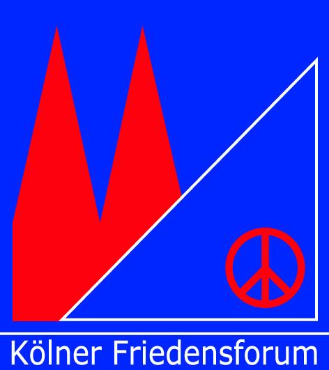 Auf königsblauem Grund ist in rot rechts das Peace-Zeichen und links der Kölner Dom skizziert.