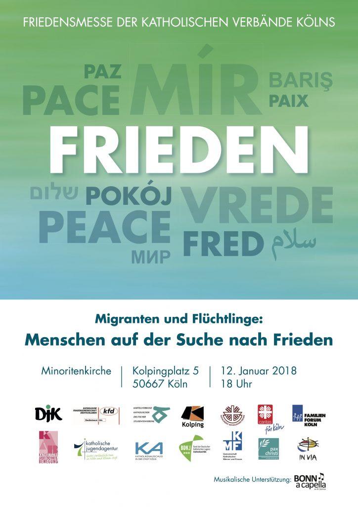 """Das Plakat zeigt die Aufschrift """"Frieden"""" in vielen Sprachen auf blaugrünem Grund."""