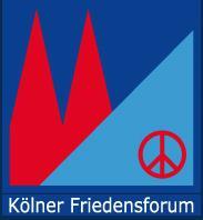 Auf dunkelblauem Grund sind die beiden Domspitzen in knallrot zu sehen. Rechts ein hellblaues rechtwinkliges Dreieck mit dem roten Peace-Zeichen darauf.