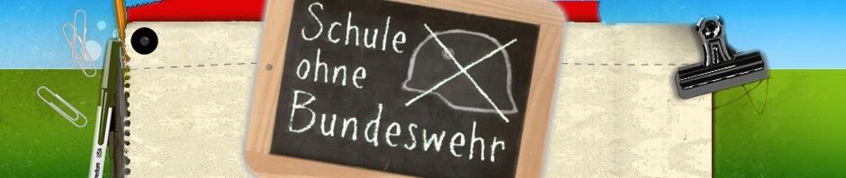 """Logo-Banner der Kampagne """"Schule ohne Bundeswehr"""". Zu sehen ist eine Schultafel mit derselben Aufschrift und einem mit Schulkreide gezeichneten durchgestrichenen Soldatenhelm."""