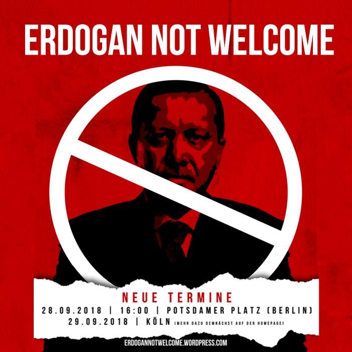 Ein schwarzes Porträt von Präsident Erdogan auf rotem Grund, mit einem schmalen weißen Balken durchgestrichen.