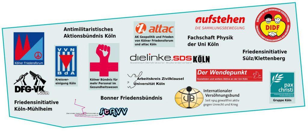 Logos der Unterstützer von Abrüsten statt aufrüsten! in Köln 2018