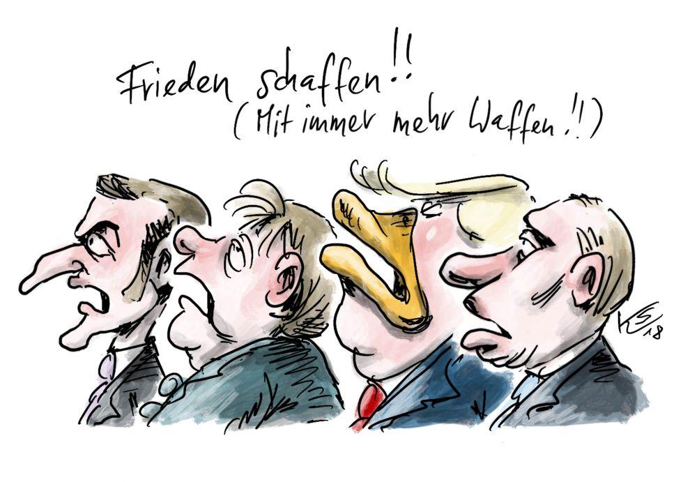 Zu sehen sind die Gesichter der Regierungschefs Macron, Merkel, Trump, Putin.