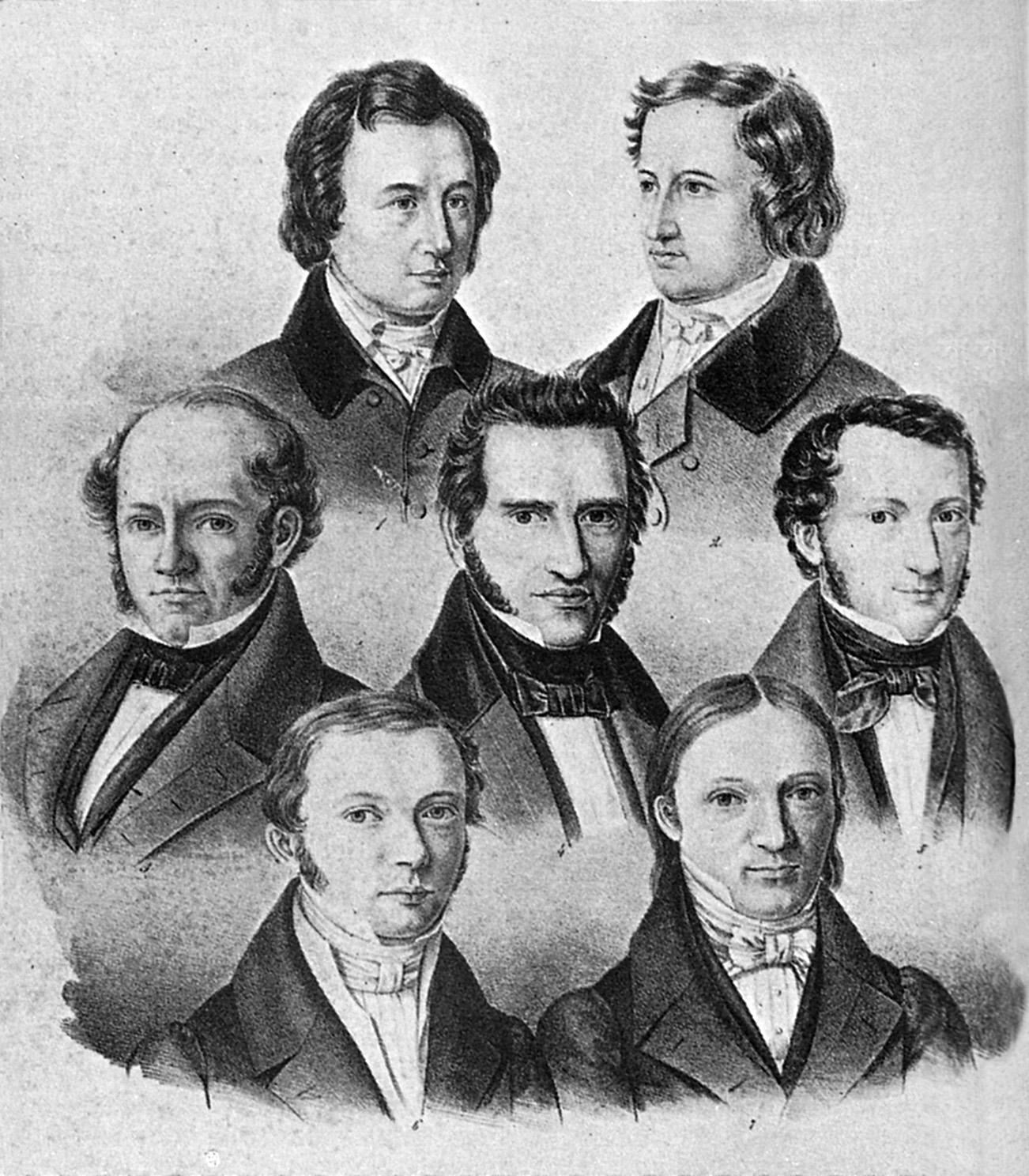 Ein Schwarz-Weiß-Druck der Porträts von sieben Herren in Anzügen.