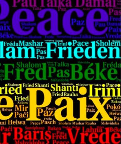 Grafik mit dem Wort Frieden auf allen möglichen Sprachen in bunten Buchstaben auf schwarzem Grund.