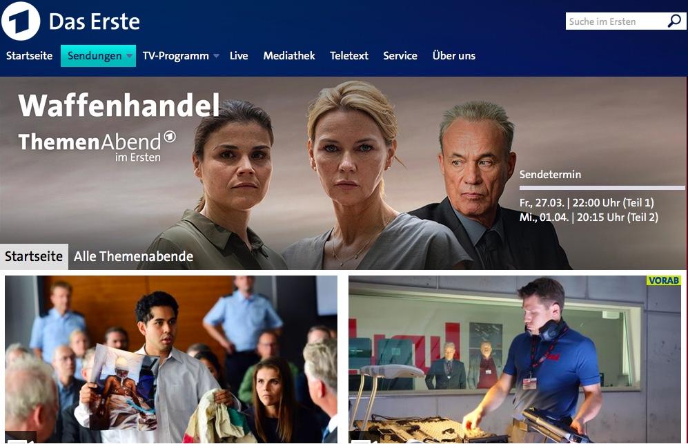 ARD Themenabend Waffenhandel. Bildschirmfoto der Ankündigung der ARD mit Filmausschnitten, darunter Veronica Ferres und Heiner Lauterbach.