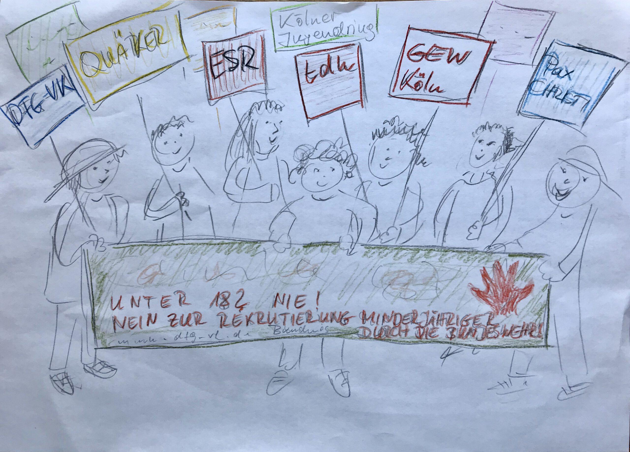 Skizze einer Kundgebung mehrerer Menschen, die hinter dem Banner stehen und Schilder mit Organisationsbezeichnungen hochhalten, bspw. DFG-VK, tdh, GEW Köln.