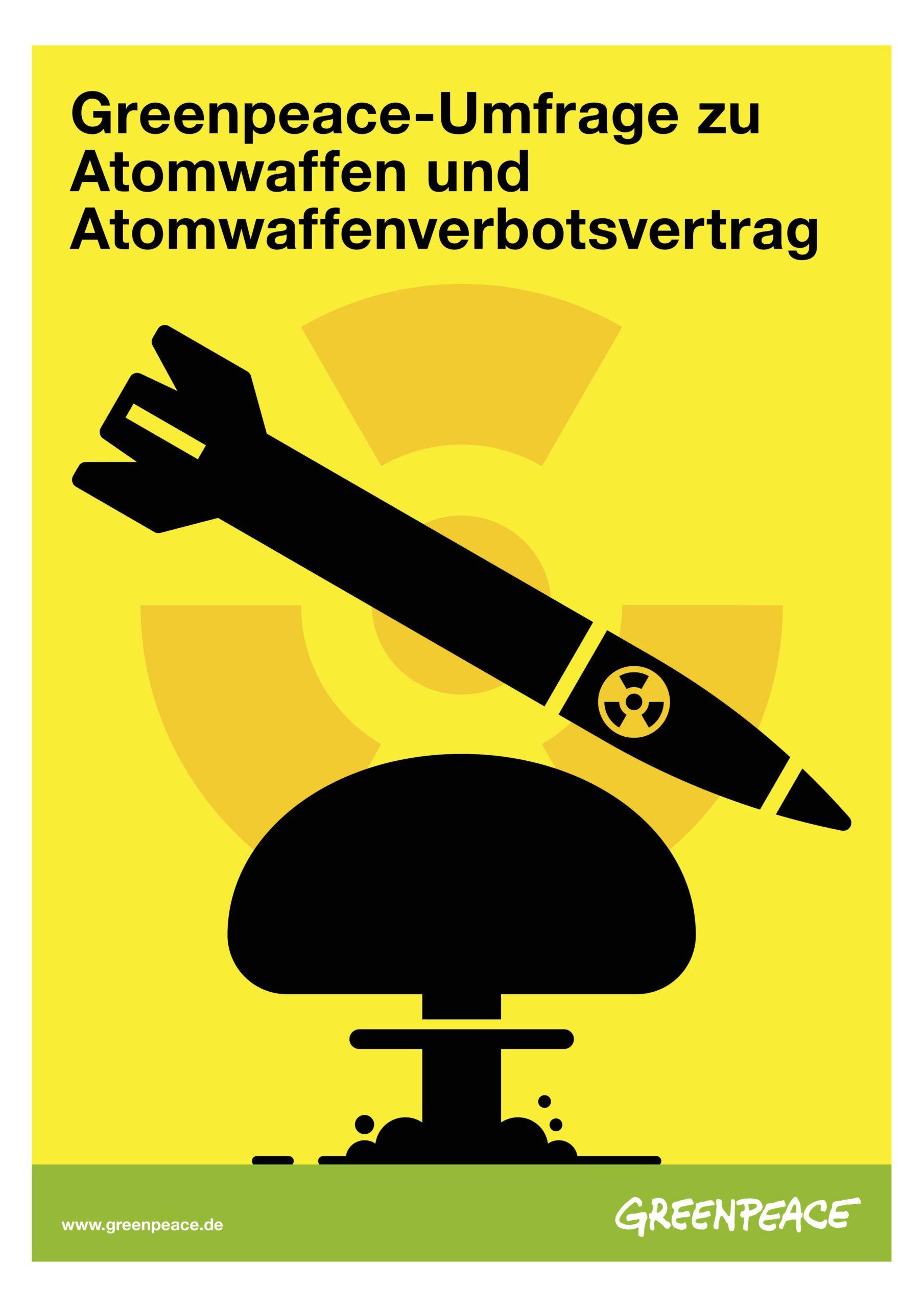 Deckblatt einer Publikation mit der Grafik einer zu Boden fliegenden raketenförmigen schwarzen Bombe und einem schwarzen Atompilz auf gelbem Grund.