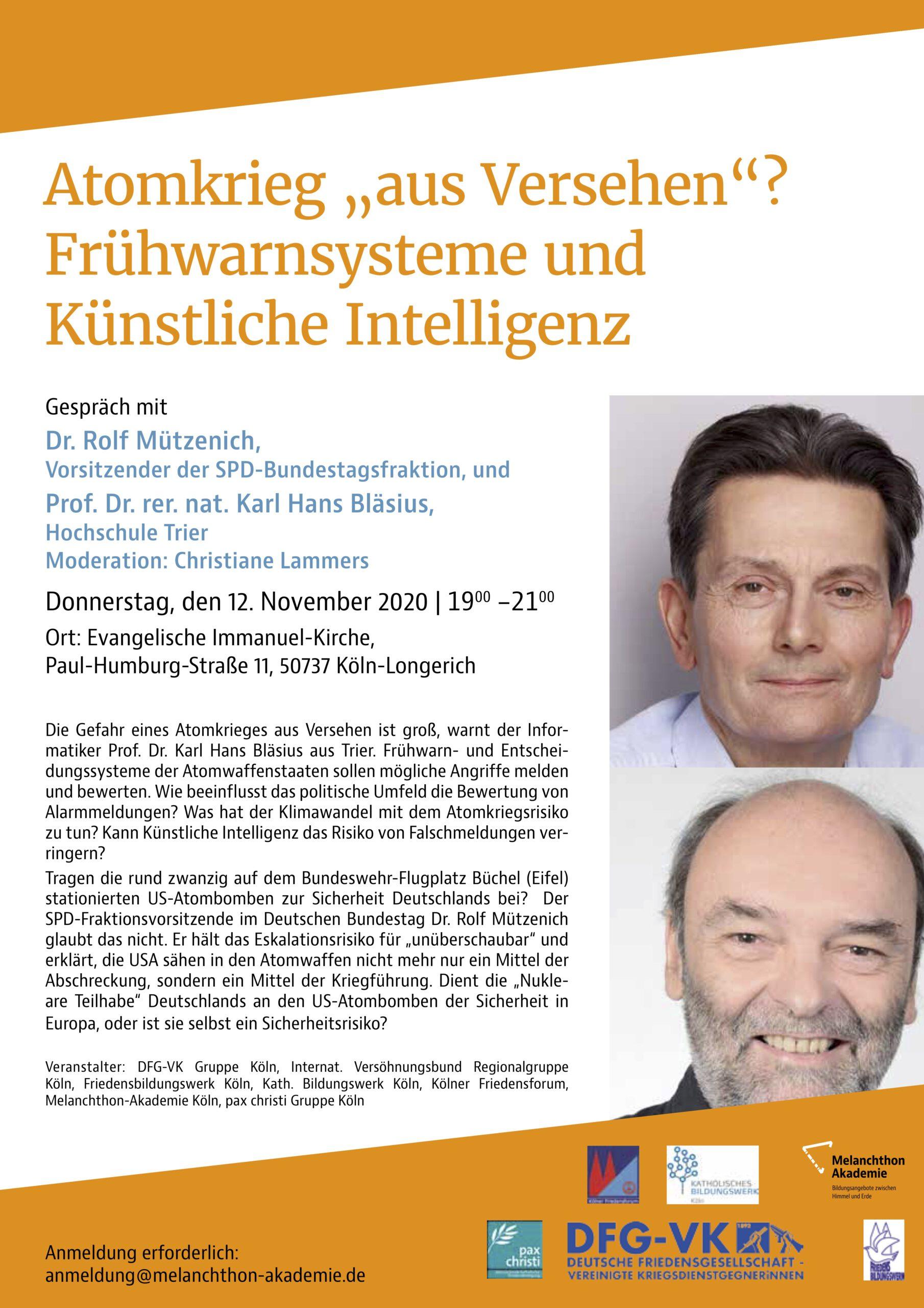 """Plakat zur Veranstaltung """"Atomkrieg aus Versehen? Frühwarnsysteme und Künstliche Intelligenz"""" am 12.11.2020 mit Rolf Mützenich, Karl Hans Bläsius und Christiane Lammers (Moderation)."""